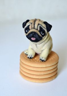 Needle felted pug. Little felt dog. Sweet animal. от Fenekdolls