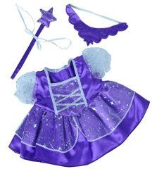 "Purple Fairy Princess Dress w/Wand Teddy Bear Clothes Outfit Fits Most 14"" - 18"" Build-a-bear, Vermont Teddy Bears, and Make Your Own Stuffed Animals"