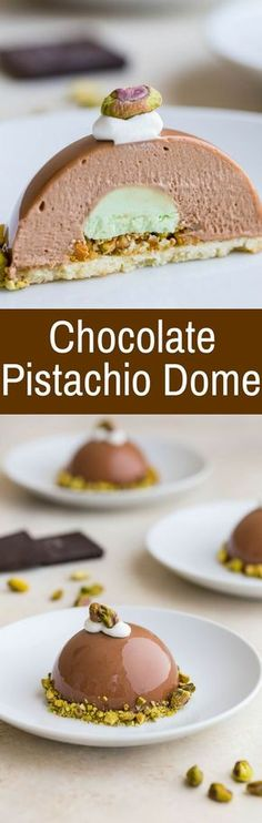 This Chocolate Pistachio Dome with Almond and Pistachio Nougatine is inspired by the elegant Chocolate Journeys dessert served onboard Princess Cruises. via Baked by an Introvert Desserts To Make, Köstliche Desserts, Plated Desserts, Chocolate Desserts, Delicious Desserts, Chocolate Decorations, Bon Dessert, Low Carb Dessert, Pistacia Vera