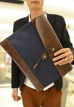 Men envelope clutch bag retro PU package briefcase