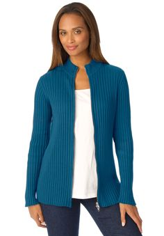Jessica London® Ribbed Cotton Cardigan with Zip Front