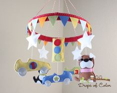 Baby Mobile - Crib Mobile - Race Cars and Puppies.  Circle Frame - Pennant Banner. Love IT!