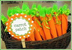 Fresh from the Garden Party: carrot forks & napkins! This would be adorable for the end of the year ffa banquet!