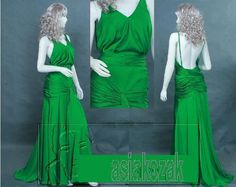 "Keira Knightley's Celebrity Prom Bal Long Maxi Green Silk Dress from the ""Atonement"" movie, any size. €189.00, via Etsy."