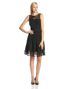 Sleeveless Belted Pleated Hem Lace Dress by Jessica Howard