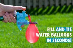 Tie-Not Water Balloon Filler fills and ties water balloons in seconds.