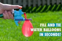 Tie-Not Water Balloon Filler fills and ties water balloons in seconds.