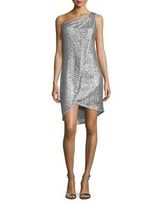 One-Shoulder Embellished Faux-Wrap Dress, Vapor/Silver by Halston Heritage at Neiman Marcus.