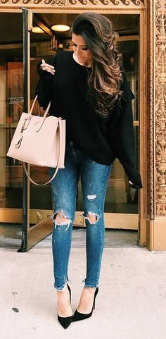 cute outfit knit + bag + rips