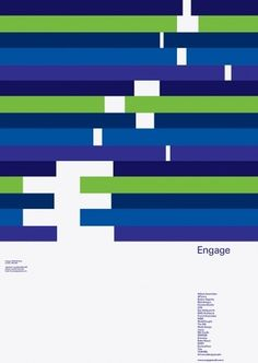 A four colour poster promoting the digital consultancy Engage. The poster is an animated graphic expression of the logotype forming the letter . Graphic Design Posters, Graphic Design Typography, Graphic Design Inspiration, Brochure Inspiration, Paula Scher, Identity Design, Logo Design, Pixel Art, Timeline Design