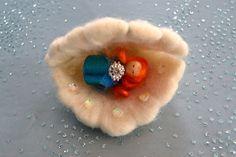 Baby Mermaid - Wood Peg Baby Mermaid In Cradle- Shell Cradle. Waldorf Peg Dool