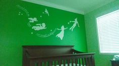 Idea for a Peter Pan nursery. The green could just be for a feature wall