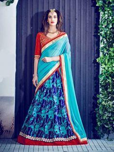 Blue Bangalore Silk Printed Lehenga Choli