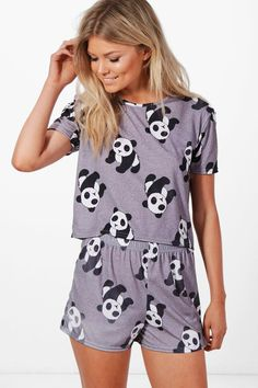 Petite Kelly Panda Logo Pyjama Set | Boohoo