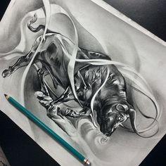 Let's get err done!! #davidreveles #tattoospooky #tattoo #taurus #bull #fuckthebullshit #fullspeedahead #blackandgrey #pencil #work #graphite #artist #art #artoftheday #artsanity #artcollective #blvdart #create #worldofpencils