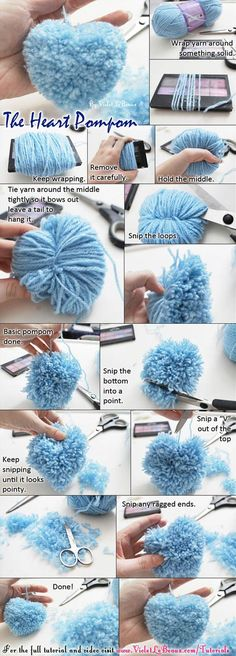Heart Shaped Pompom - 32 Cool Crafts and Gifts for This Valentines Day You Must Try
