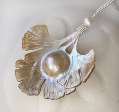 Long Necklace Carved Mabe Pearl Ginkgo Leaf by modesteparisienne, $339.00