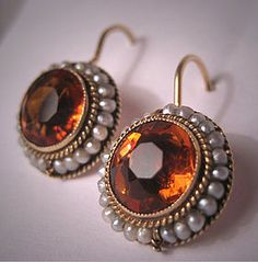 Antique Topaz Pearl Earrings Victorian Gold Vintage 14K, fell in love <3 when I saw these !