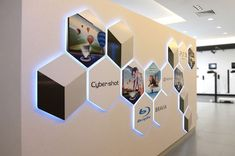 Interesting back-lit wall signage for SONY Office Wall Design, Corporate Office Design, Office Wall Art, Office Interior Design, Office Interiors, Office Logo, Office Branding, Office Signage, O Design