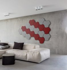 ALPHAcoustic-Puzl is a modular acoustic panel wrapped with acoustic transparent fabric, that reduces the disturbing noise Acoustic Fabric, Acoustic Panels, Slat Wall, Sound Proofing, Living Room, Walls, 3d, Studio, Home Living Room