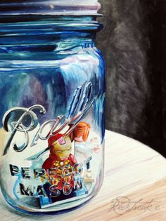 """My latest in the new """"Captured!"""" ball jar series! Watercolor on aquabord, 12 x 18""""."""