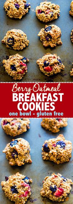 One Bowl Berry Oatmeal Breakfast Cookies. Fresh Fruit combined with gluten free oats to make healthy breakfast cookies. Great for breakfast to go, snacks, or dessert. Easy to make, dairy free and egg free options, simple ingredients, and DELISH