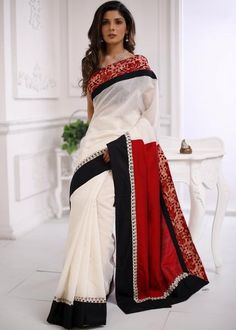 Abstract Batik Work with white chanderi & red cotton silk combination saree Elegant Indian Saris Click VISIT link above for more info Simple Sarees, Trendy Sarees, Indian Dresses, Indian Outfits, Indian Clothes, Western Outfits, Cotton Saree, Cotton Silk, Black And White Saree