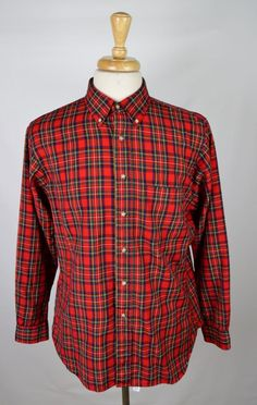 Sir Pendleton Royal Stewart Tartan Men's Large Casual Wool Button Front Shirt…
