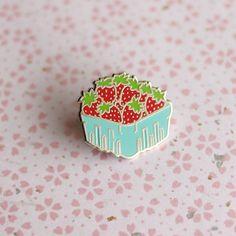 Strawberry Basket Enamel Pin - Fruit Lapel Pin // Hard Enamel Pin, Cloisonné, Pin Badge by shinyapplestudio on Etsy https://www.etsy.com/listing/453351848/strawberry-basket-enamel-pin-fruit-lapel