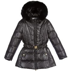 Girls Black Down Padded Coat & Rabbit Fur Trim, Young Versace, Girl