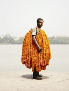 Flower vendors from Calcutta'sMalik Ghat flower market, one of the oldest and the largest of its kind in India.