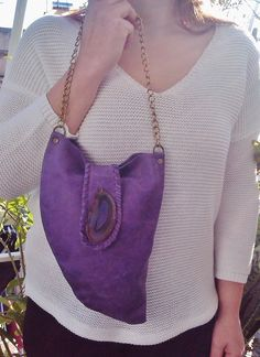 Purple Leather Bag with  Agate Stone in hippie/boho/Coachella style by MikaMikaBags