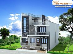 5 bedroom, modern triplex (3 floor) house design. Area: 171 sq mts (9m X 19m). Click on this link (http://www.apnaghar.co.in/pre-design-house-plan-ag-page-63.aspx) to view free floor plans and other specifications for this design. You may be asked to signup and login. Website: www.apnaghar.co.in, Toll-Free No.- 1800-102-9440, Email: support@apnaghar.co.in