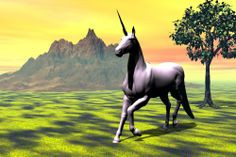 Unicorn under yellow sky