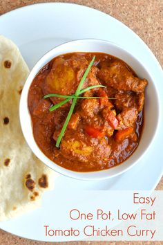 Easy One Pot Low Fat Tomato Chicken Curry - A lower fat alternative to butter chicken with far less calories but plenty of delicious exotic, spicy flavour. Omit the red curry powder for a mildly spicy curry.