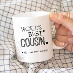 """gifts for cousin, christmas gift """"World's best cousin"""" funny coffee mug, birthda. gift for cousins gift for brother Christmas Gifts For Cousins, Diy Christmas Gifts, Christmas Coffee, Christmas Ideas, Cousin Gifts, Gifts For Brother, Funny Birthday Gifts, Funny Gifts, Happy Birthday"""