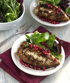 A quick and easy stuffed chicken breast recipe with creamy goat cheese and topped with sweet pomegranate seeds, and balsamic vinegar. Click for the recipe!