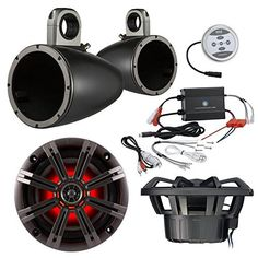 Marine Speaker Package With Amp 2x Kicker 41KM84LCW 8 Coaxial Boat LED Light Speaker Bundle Combo With 2x Kicker 8 Inch Black Wakeboard Tower Enclosures  600 Watt Bluetooth 2Channel Amplifier -- Check out the image by visiting the link.