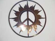 Peace Sign And Sun Metal art Round Wall Decor by Tibi291 on Etsy