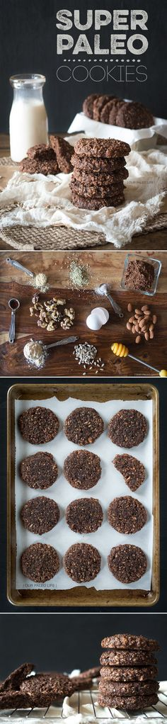 "Grain free cookies Super Paleo Cookies  "" chocolatey, crunchy, chewy, packed with good, energy boosting ingredients #paleo #chocolate"" ""1/4 cup Coconut Flour  4 Large Eggs  8 Medjool Dates (or 18 Deglet Noor Dates), pitted  1/4 cup Honey  1/2 cup Raw Almonds  1/4 cup Walnuts  1/2 cup Hemp Seeds 1/2 cup Sunflower Seeds  1/2 tsp Sea Salt  1 tsp Pure Vanilla Extract  1 tsp Ground Ginger  3 Tbsp Cocoa Powder"""