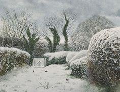 David Gentleman - Suffolk garden under snow,  watercolour 2008