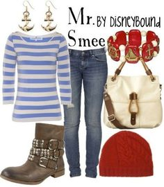 Mr. Smee! Although I'm not a fan of the guy character outfits for girls, I happen to LOVE this one! I really like the stripped shirt with the nautical tie-ins!! Really cool.