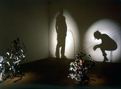 Tim Noble and Sue Webster take ordinary things including rubbish, to make assemblages and then point light to create projected shadows which show a great likeness to something identifiable including self-portraits. The art of projection is emblematic of transformative art. The process of transformation, from discarded waste, scrap metal or even taxidermy creatures to a recognizable image, echoes the idea of 'perceptual psychology' a form of evaluation used for psychological patients.
