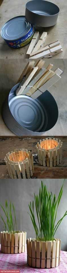 Homemade candle holder.