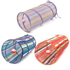 Fast shipping Collapsible Colorful Bulk Cat Play Tunnel Crinkle With Ring Bell Kitten Play Toy  Rabbit Play Tunnel 3 Colors