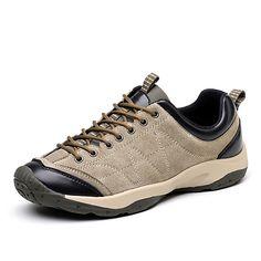 Hombre Zapatos Cuero / PU Otoño Confort Zapatillas de Atletismo Senderismo Gris / Amarillo / Marrón 1rAWYa