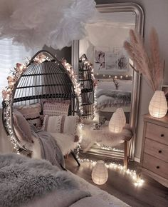 Cute Bedroom Decor, Bedroom Decor For Teen Girls, Room Design Bedroom, Girl Bedroom Designs, Stylish Bedroom, Master Bedroom, Bedroom Styles, Bedroom Inspo, Teen Bedrooms
