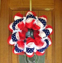 Patriotic Wreath created by Farrah Cox - check out her Facebook Page for more lovely wreaths.
