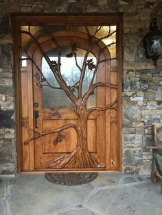 Carved Doors Wooden Ideas Wood Doors Are Warm and Welcoming Carved Doors Wooden Ideas. Custom wood doors, whether elegant or rustic, are a durable choice that can really set off the style of your h… Cool Doors, The Doors, Unique Doors, Entry Doors, Entryway, Custom Wood Doors, Wooden Doors, Wooden Door Design, Wood Design