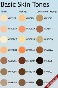 A nice chart of skin tones for digital painting